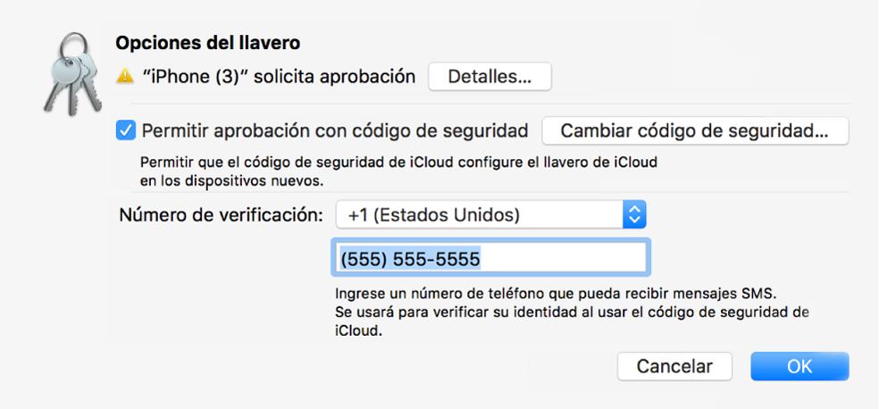 """El cuadro de diálogo """"Opciones del llavero de iCloud"""" con el nombre del dispositivo que solicita aprobación y el botón Detalles junto a él."""