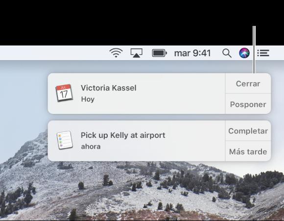 Notificaciones de las apps Calendario y Recordatorios en la esquina superior derecha de la pantalla.
