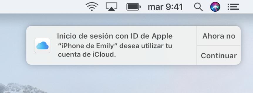 Una notificación para el dispositivo que solicita aprobación para el llavero de iCloud.