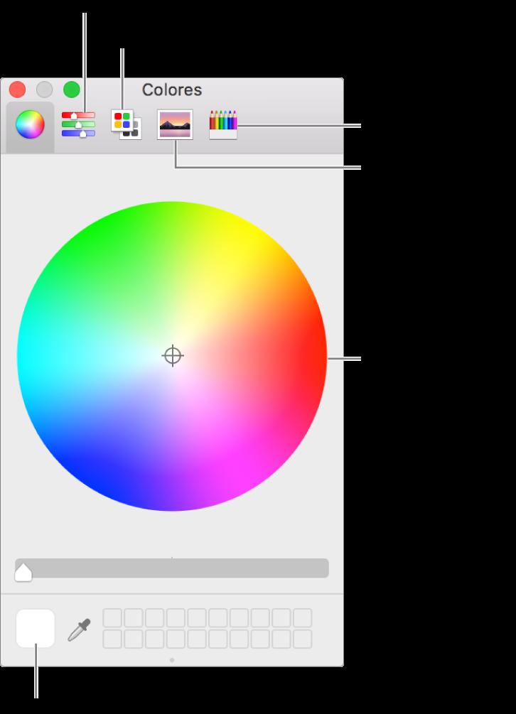 La ventana Colores. La barra de herramientas, que muestra los botones de los reguladores de color, las paletas de color, las paletas de imágenes y los lápices, se encuentra en la parte superior de la ventana. A mitad de ventana se encuentra la rueda de color. La paleta de colores está abajo a la izquierda.