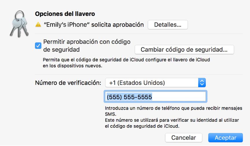 """Cuadro de diálogo """"Opciones del llavero de iCloud"""" con el nombre del dispositivo que solicita aprobación y un botón Detalles al lado."""