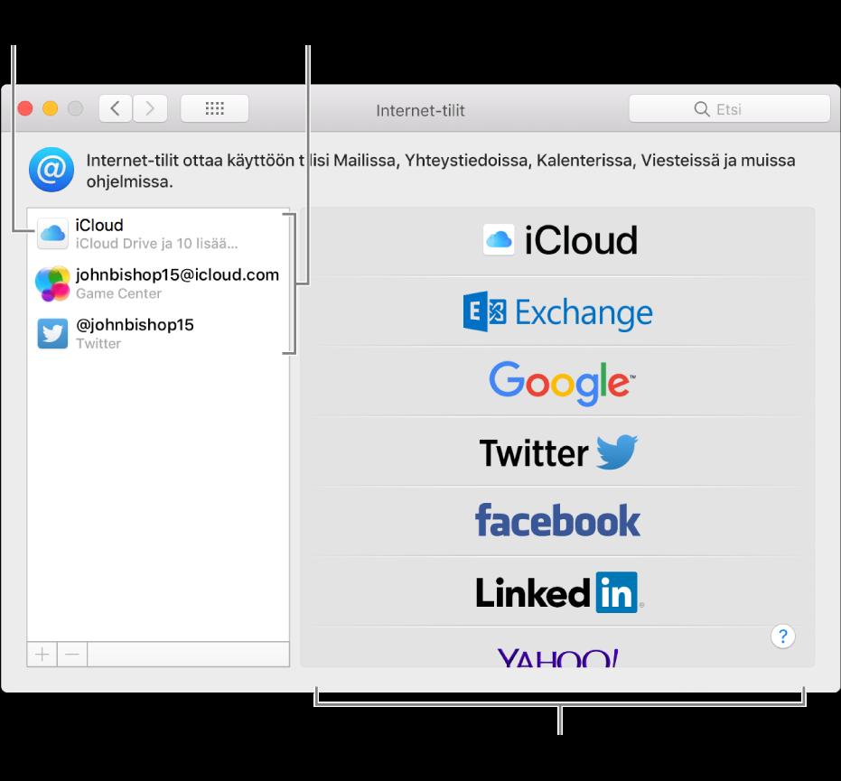 Internet-tilit-asetukset, jossa oikealla on iCloud- ja Twitter-tilit ja vasemmalla käytettävissä olevat tilityypit.