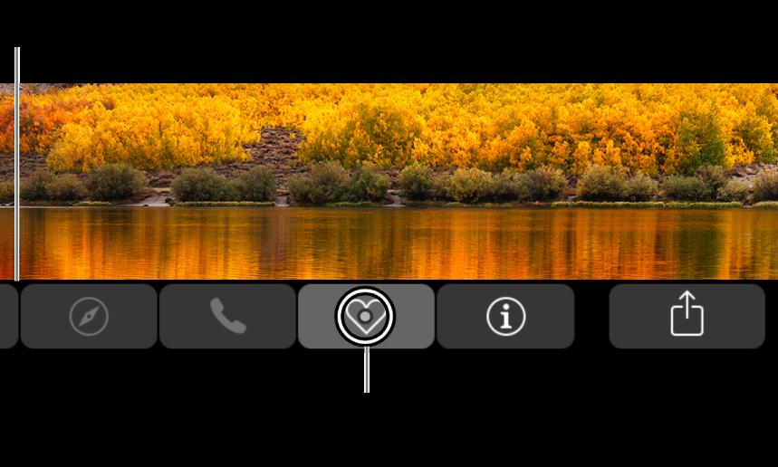 La TouchBar agrandie en bas de l'écran, le cercle par-dessus un bouton change lorsque le bouton est sélectionné.