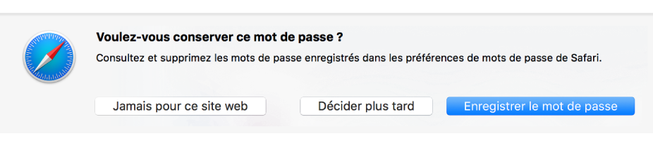 Zone de dialogue demandant si vous souhaitez enregistrer le mot de passe d'un site web.
