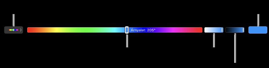 A Touch Bar a HSB-modell árnyalat, a telítettség és a fényerő csúszkáival. A bal oldalon lévő gomb az összes profil megjelenítésére szolgál; a jobb oldalon lévő gomb az egyéni színek mentésére.