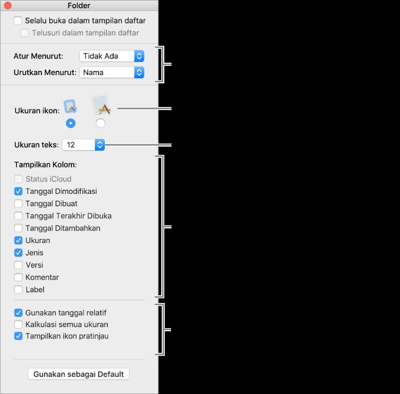 Jendela yang mencantumkan pilihan tampilan Daftar dan Cover Flow.