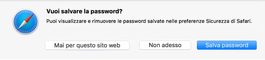 Una finestra di dialogo in cui viene chiesto se desideri salvare la password per un sito web.