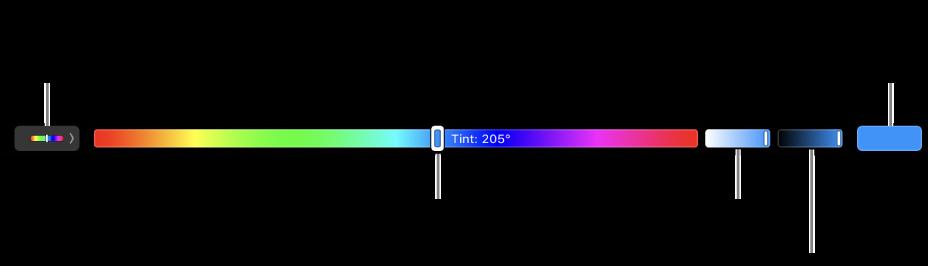 De TouchBar met schuifknoppen voor kleurtint, kleurverzadiging en helderheid voor het HSB-model. Uiterst links zie je de knop om alle profielen weer te geven; aan de rechterkant staat de knop om een aangepaste kleur te bewaren.