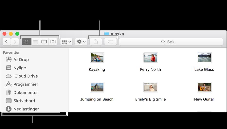 Et eksempel på et Finder-vindu.