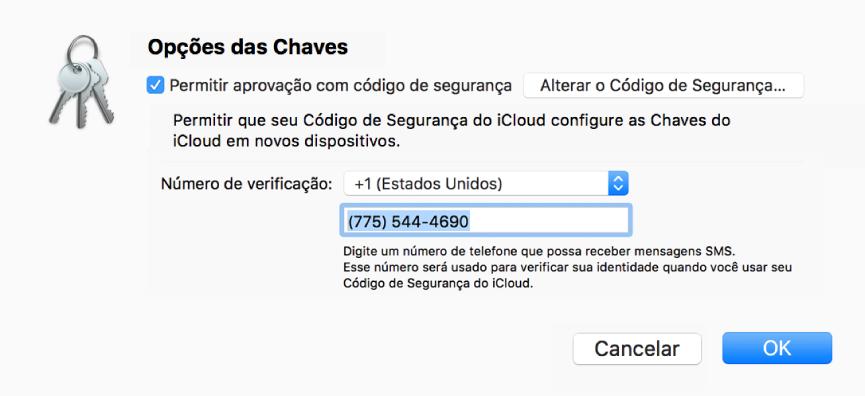 Diálogo de Opções das Chaves do iCloud com opção selecionada para permitir aprovação com código de segurança, botão para alterar o código de segurança e campos para alterar o número de verificação.