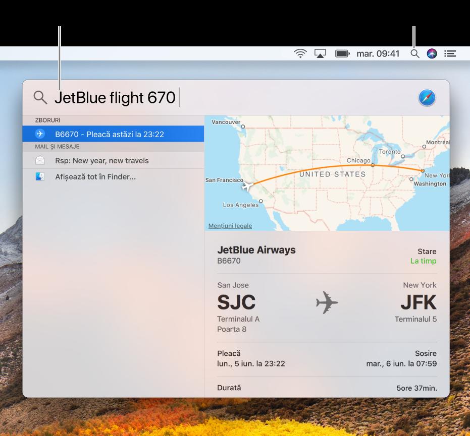 Meniul Spotlight afișând un exemplu de căutare cu rezultatele căutării.