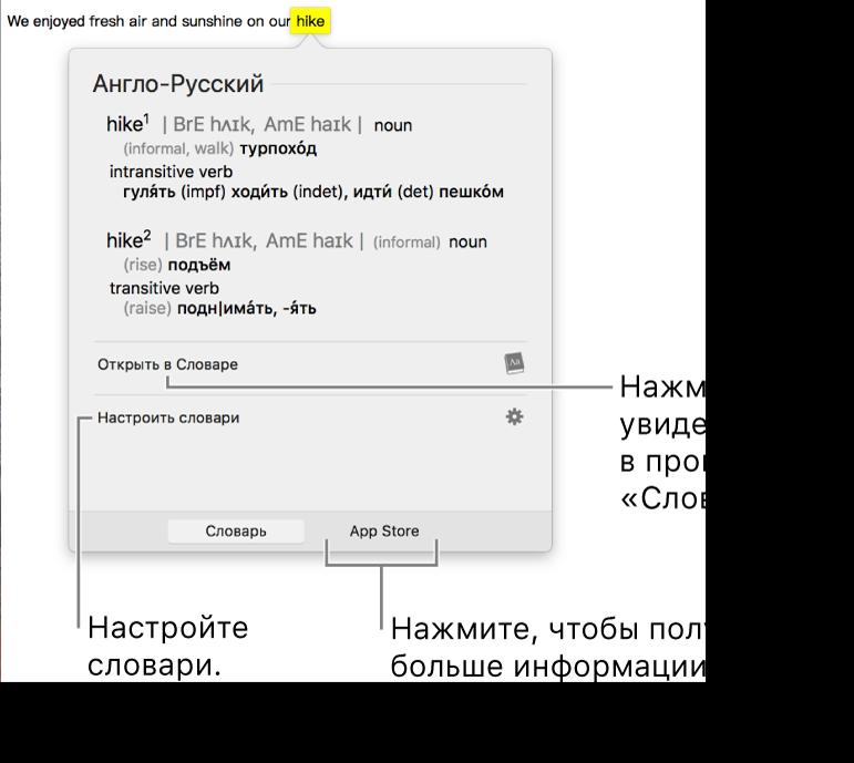 Окно поиска в словаре, в котором показаны определения слова из словаря и тезауруса.