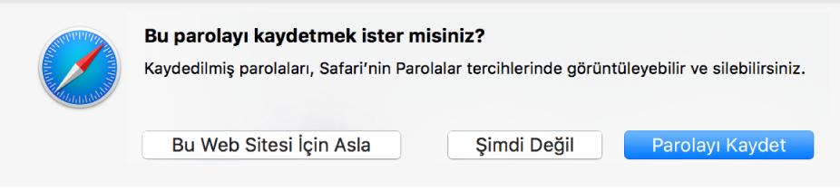 Bir web sitesi için parolayı kaydetmek isteyip istemediğinizi soran bir sorgu kutusu.