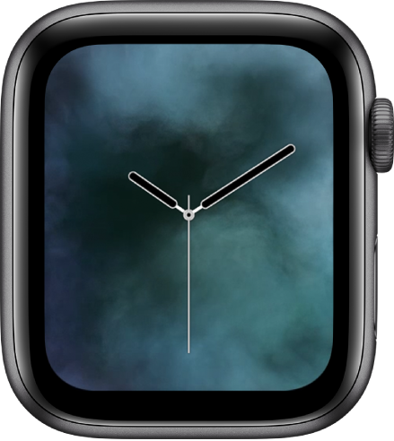 The Liquid Metal watch face showing an analog clock in the middle and vapor around it.