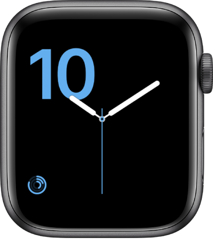 Numeral watch face showing the chiseled typeface in blue and an Activity complication at the bottom left.