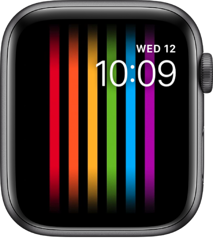 The Pride watch face showing vertical rainbow stripes with the day, date, and time at the top right.
