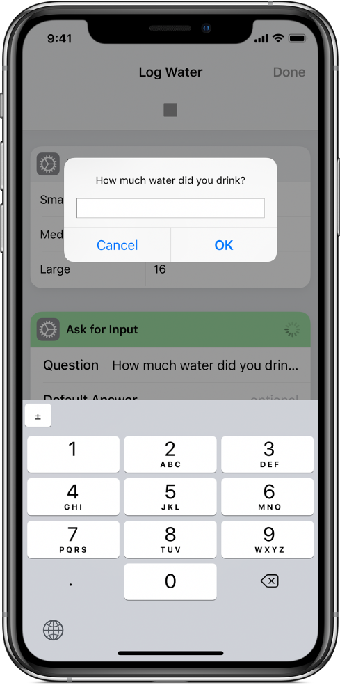 Dialog asking the user for numerical input opens a numeric keypad instead of a text keyboard.