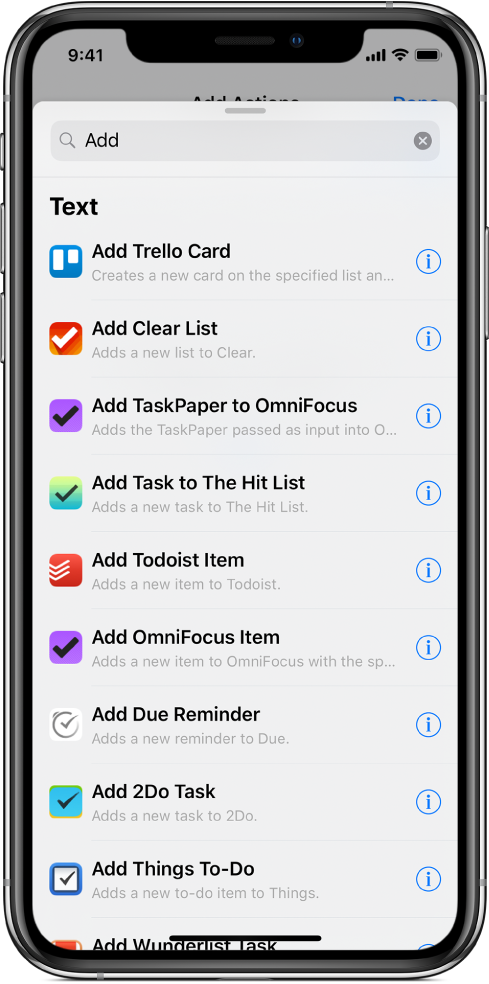 Action list showing share actions.