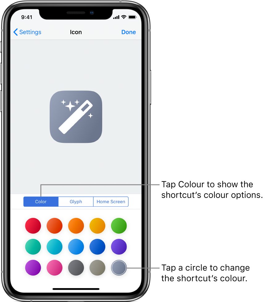 Icon screen showing shortcut colour options.