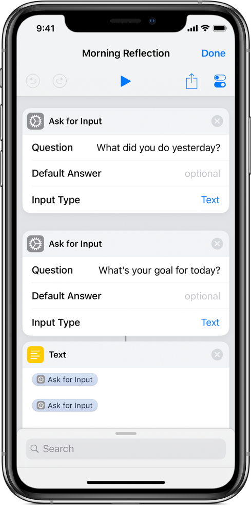 Text shortcut containing prompts.