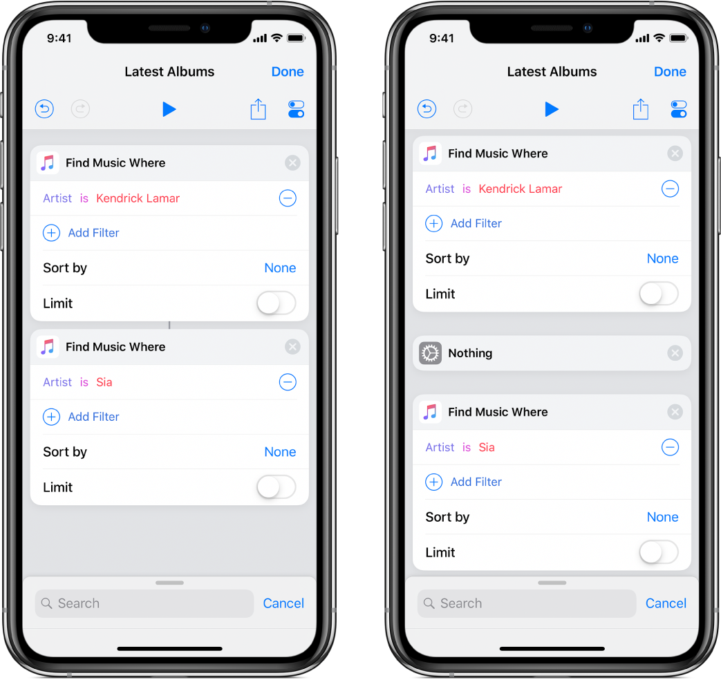 Two Find Music Where actions in the shortcut editor.