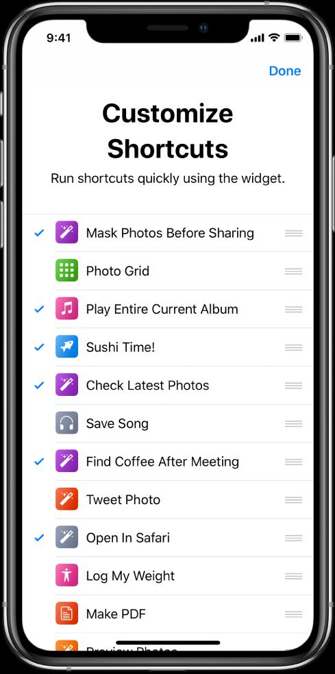 Manage Shortcuts screen.
