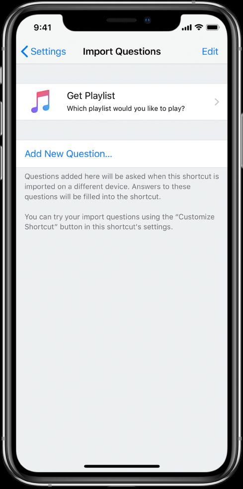 Import Questions screen.