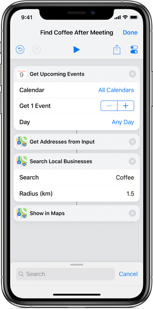 Shortcut editor showing a shortcut to extract addresses from events and show them in the Maps app.