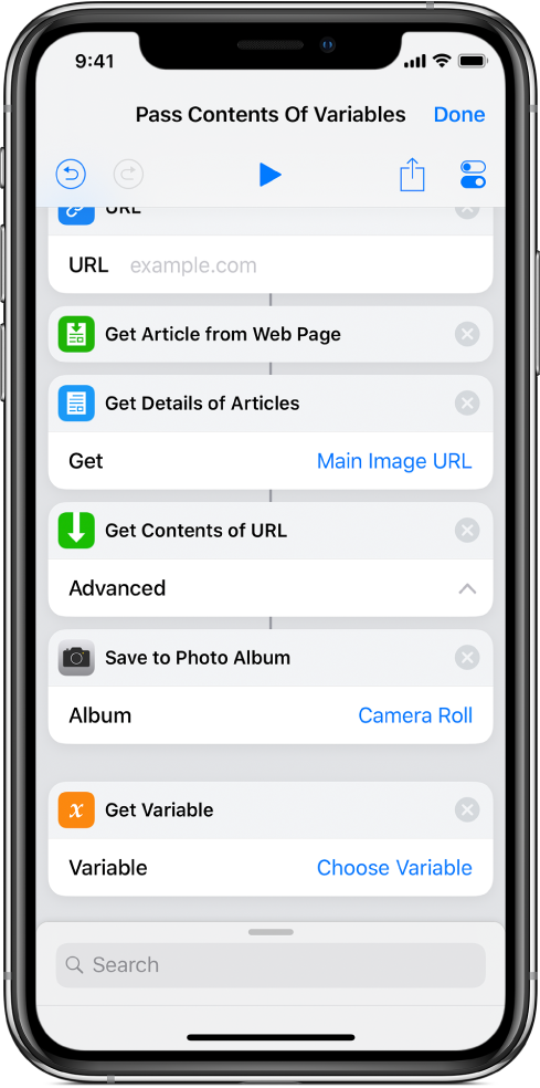 Get Variable action in shortcut editor.
