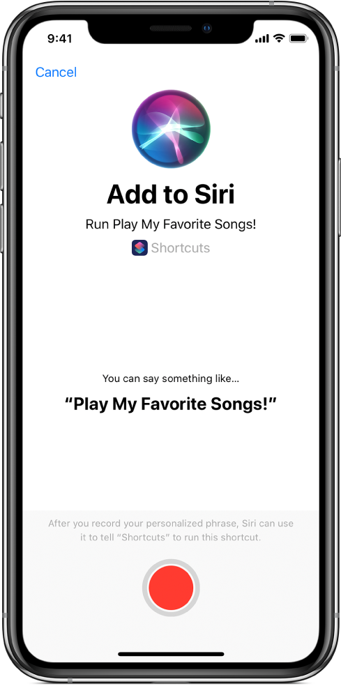 Écran Ajouter à Siri avec le bouton d'enregistrement.