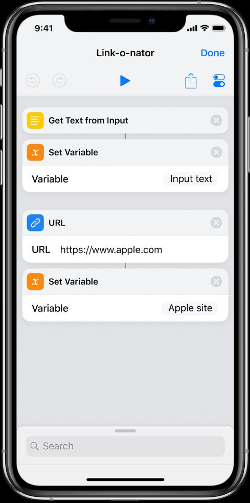 Définir des actions de variables dans l'éditeur de raccourci.