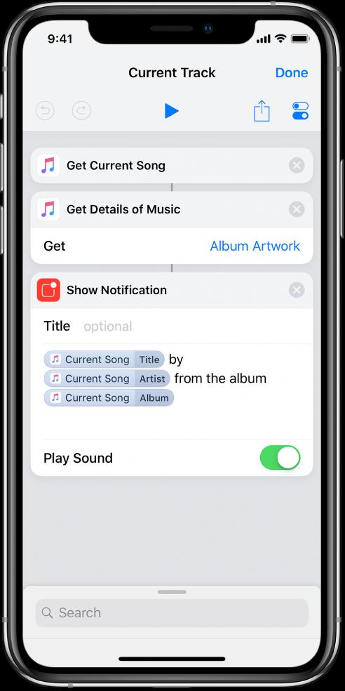 Action Afficher la notification dans l'éditeur de raccourci et alerte iTunes À l'écoute appelée par l'action Afficher la notification.