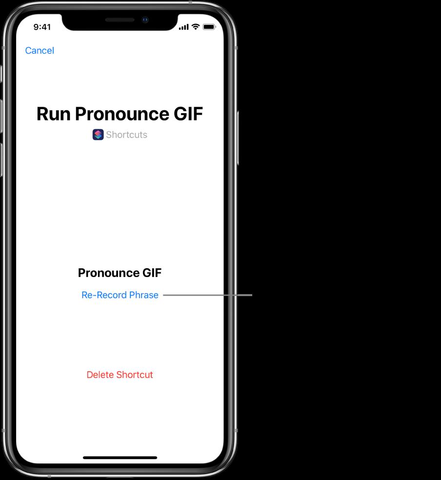Bouton Réenregistrer dans l'écran Siri.