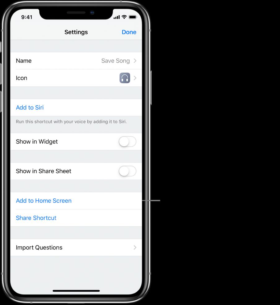 Écran Réglages dans l'app Raccourcis montrant l'option Sur l'écran d'accueil.