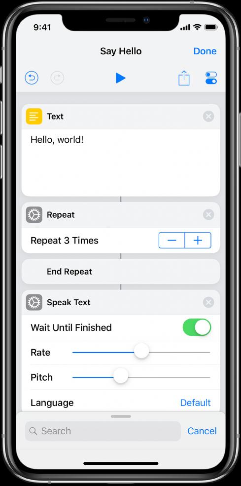 Action Texte suivie d'une action Répéter mise en boucle 3fois.