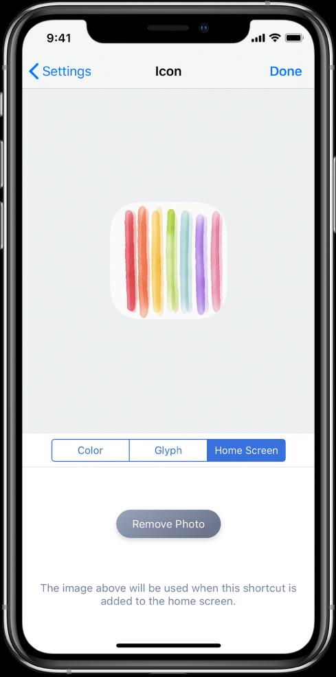 L'écran de réglages des icônes montrant la photo sélectionnée pour l'écran d'accueil.