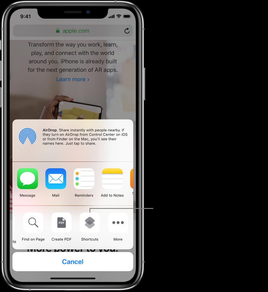 Bouton Raccourcis dans la feuille de partage de l'app Safari.