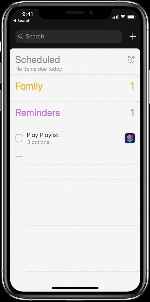 新しいショートカットリマインダーが表示されている「リマインダー」App。