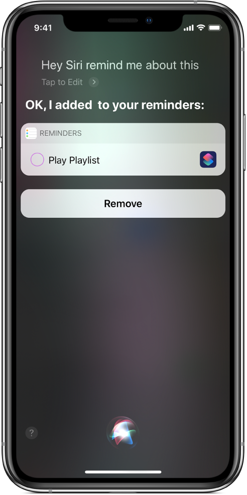 Scherm van Siri waarin een opdracht wordt toegevoegd aan een herinnering.