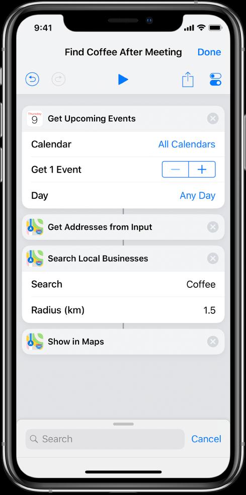Editor de atalhos mostrando um atalho para extrair endereços de eventos e mostrá-los no app Mapas.