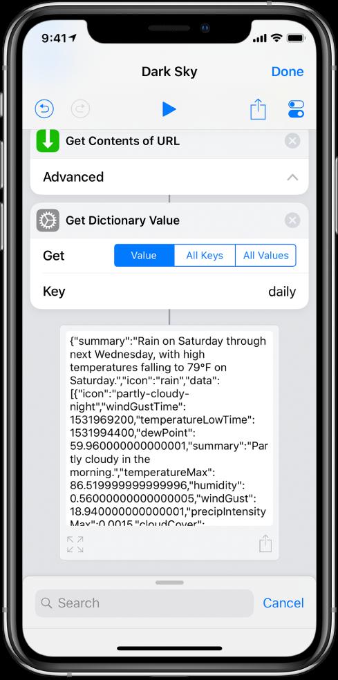 捷徑編輯器中的「取得辭典值」動作,其鍵值設為 daily。