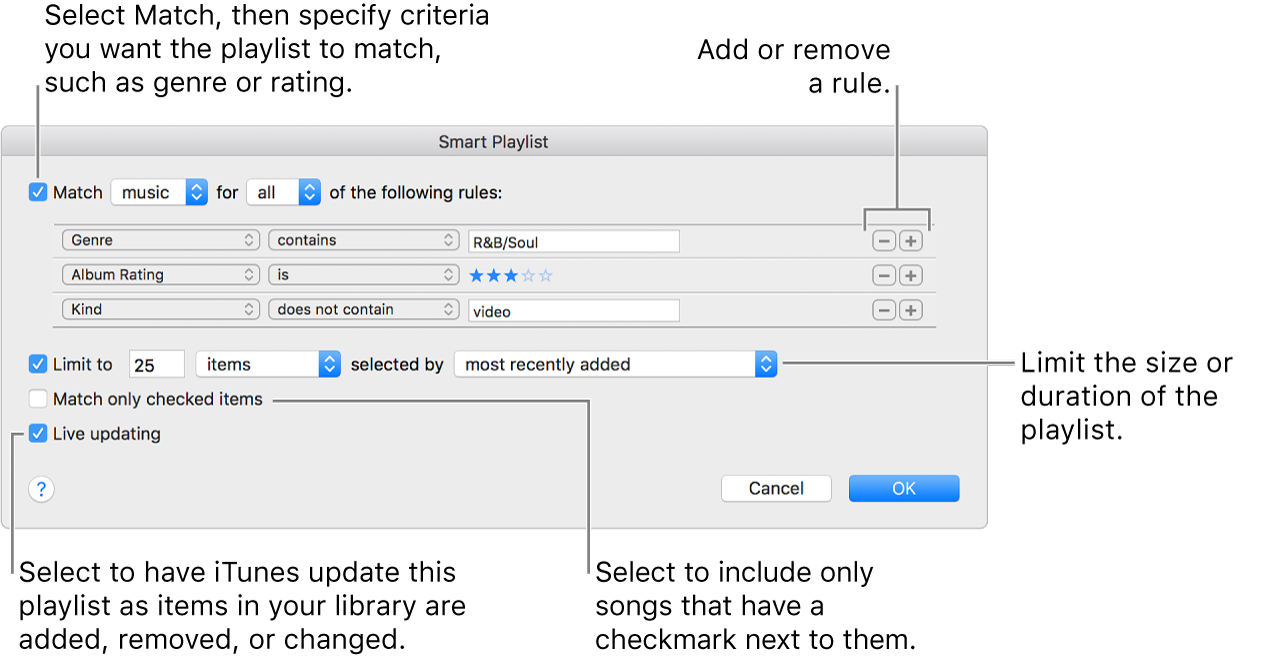 The Smart Playlist window: In the upper-left corner, select Match, then specify the playlist criteria (such as genre or rating). Continue to add or remove rules by clicking the Add or Remove buttons in the upper-right corner. Select various options in the lower portion of the window—such as limiting the size or duration of the playlist, including only songs that are checked or having iTunes update the playlist as items in your library change.