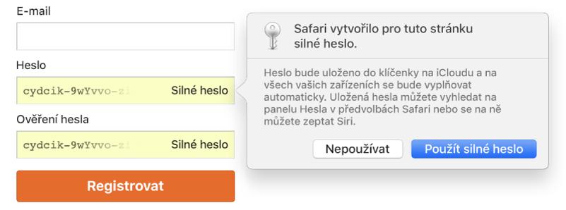 Stránka založení účtu, na které se zobrazuje automaticky vygenerované heslo avolby pro jeho odmítnutí nebo použití