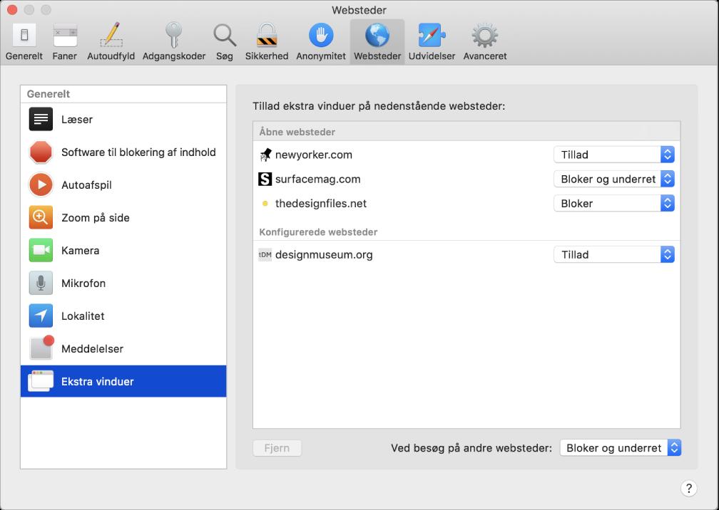 Vinduet Websteder, hvor du kan tilpasse, hvordan du surfer på individuelle websteder i Safari.