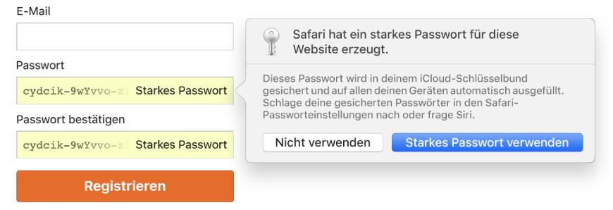 Account-Anmeldeseite mit einem automatisch erstellten Passwort und der Option dieses abzulehnen oder zu verwenden