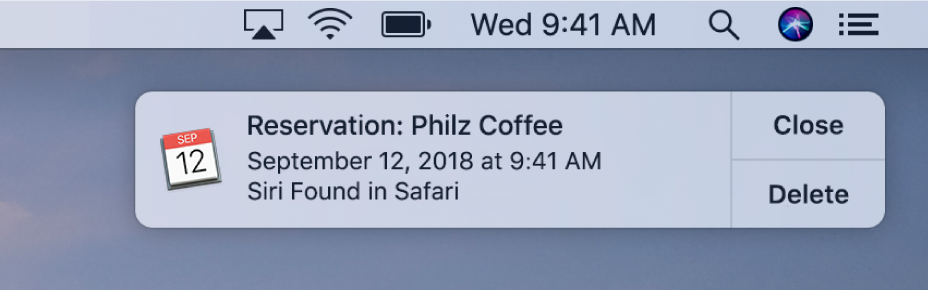 A Siri Suggestion to add an event from Safari to Calendar.