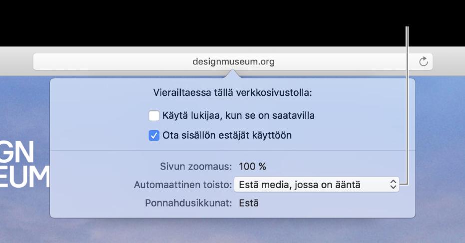 Älykkään hakukentän alle näkyviin tuleva valintaikkuna, kun valitset Safari> Tämän sivuston asetukset. Valintaikkunassa on vaihtoehtoja nykyisen verkkosivuston selaamisen muokkaamiseen, muun muassa Lukija-näkymän käyttäminen ja sisällön estäminen.