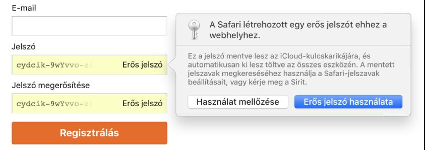 Egy fiók feliratkozási oldala, melyen egy automatikusan létrehozott jelszó látható – a használatra és elutasításra vonatkozó választási lehetőségekkel.