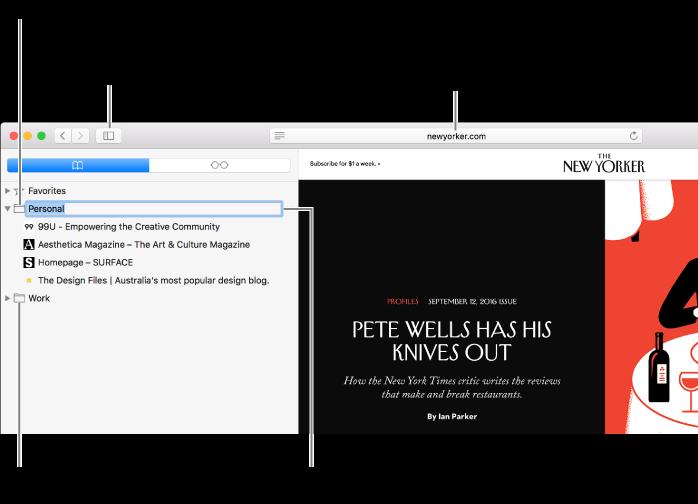 หน้าต่าง Safari ซึ่งแสดงที่คั่นหน้าในแถบด้านข้าง โดยที่คั่นหน้าหนึ่งรายการถูกเลือกไว้สำหรับแก้ไข