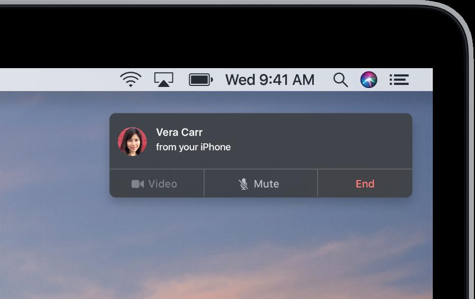 Uma notificação aparece no canto superior direito da tela do Mac, mostrando que há uma ligação telefônica que usa o iPhone em andamento.